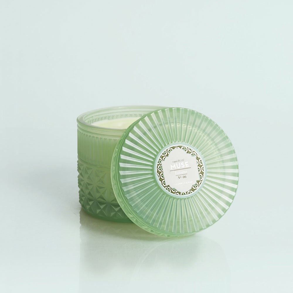 Chandelle candle green vert facettes decoration maison