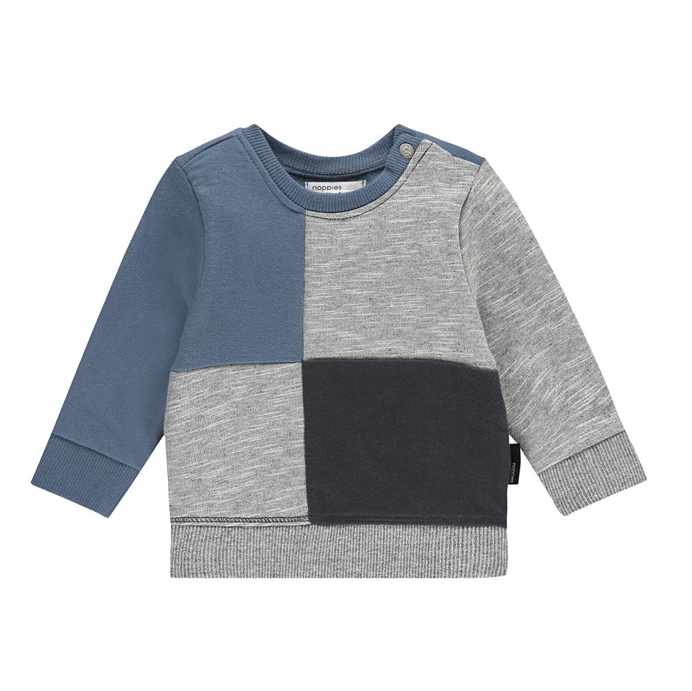 84543_noppies_sweater_chandail_carré_square_block_blue_grey_unisexe_baby_cloth_front