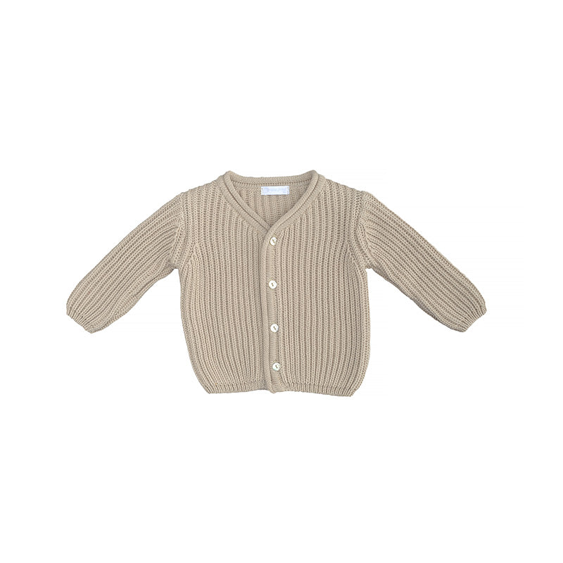 9610_Laranjhina_cardigan_chandail_boutons_buttons_knitted_tricot_unisexe_genderless_cool_baby_bébé_cadeau_shower_gift_naissance_beige_naturel_coton_front (3947618238487)