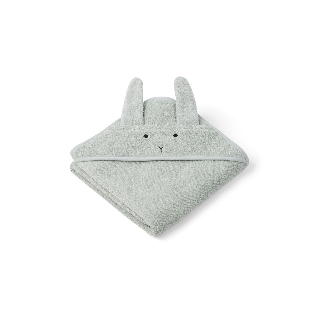 Petite serviette à capuche Albert - Lapin dusty mint
