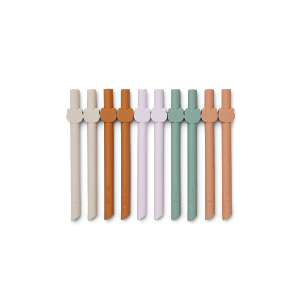 Paille en silicone animale (pack of 10) - Multi mix