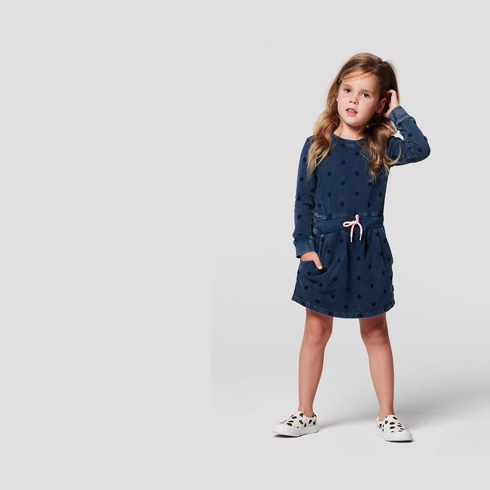 Robe fille Cochituate à pois - Jeans - Noppies (4377272811543)
