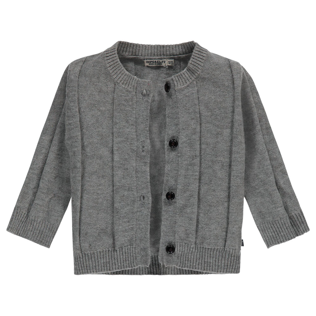 Cardigan tricot bandes verticales- Gris