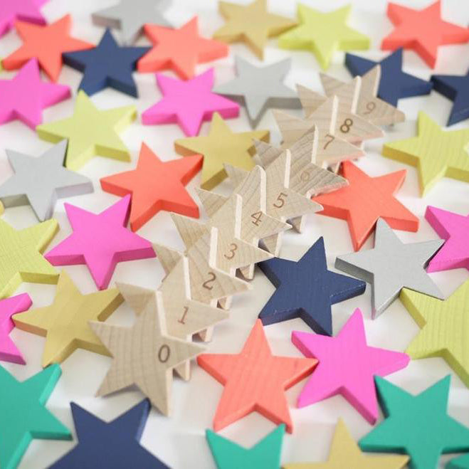Etoile stars 100 hundred wood toys dominos numbers memory game kids