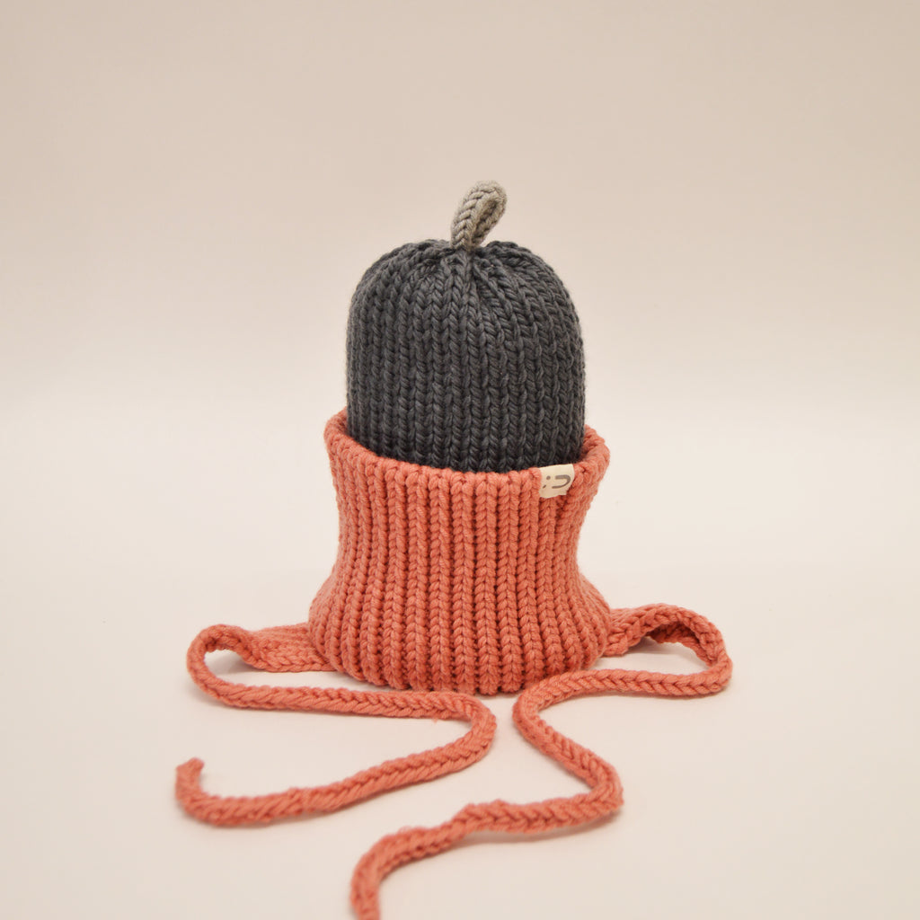 Tuque 2 couleurs 100% mérinos - Rose / Anthracite / Gris