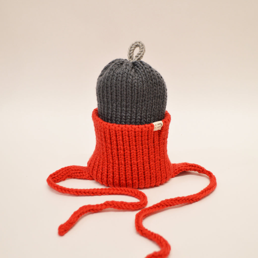 Tuque 2 couleurs 100% mérinos - Rouge / Anthracite / Gris
