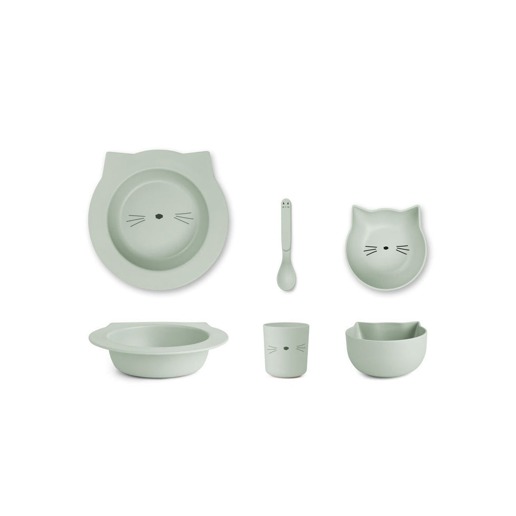 Liewood_Barbara_bamboo_baby_set-Tableware-_Cat_dusty_mint_bambou_vaisselle_dinner_time_quebec