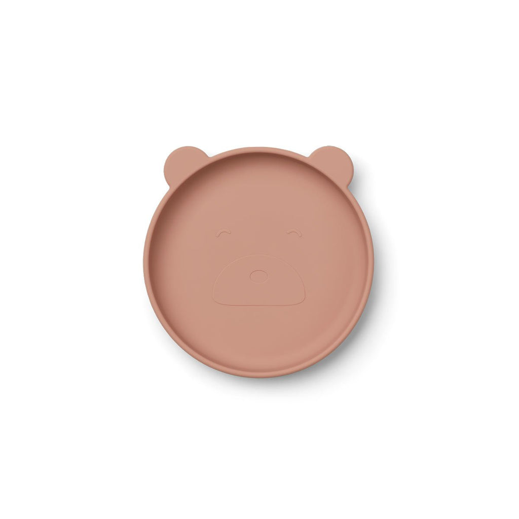 Assiette animale 100% silicone - Ours dark rose