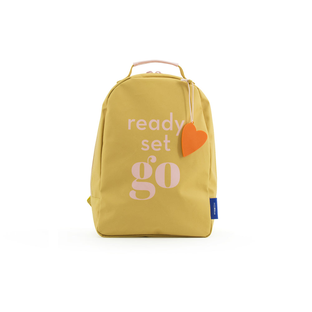 Miss Rilla - Backpack Love - coeur_sac à dos_orange_jaune_accessoires_kids_cool_fun_school_garderie_école_yellow_front_unisex
