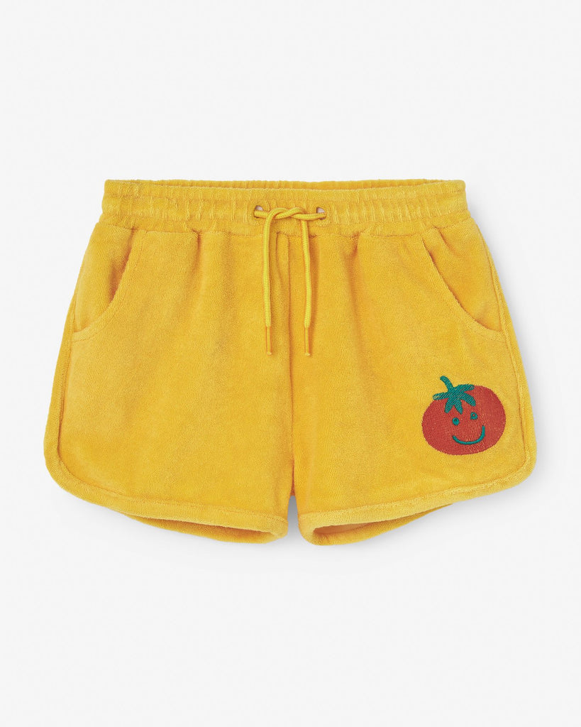 Short french terry vintage - Jaune tomate