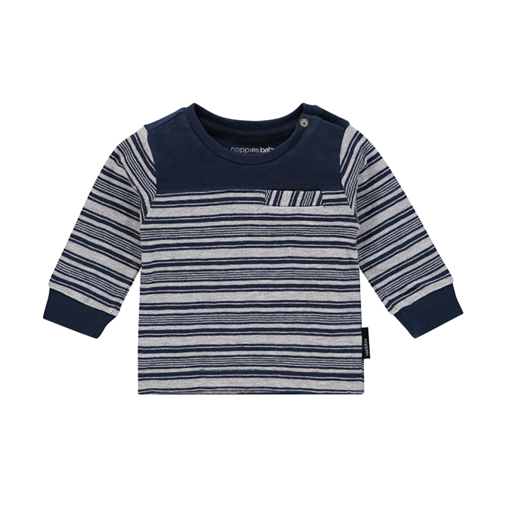 Noppies_manches longues_ chandail_boys_garcon_mode_fashion_kids_enfant_bébé_baby_rayures_lignes_stripes_marine_blue_bleu_long sleeves_front