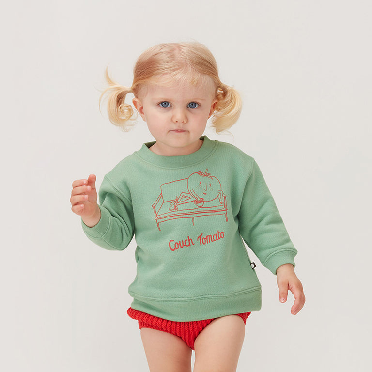 *Oeuf_ss20_quebec_lesptitsmosus_vêtement_clothing_fashion_tendance_littlerascal_coolkids_kids_baby_couch_tomato_sweater_pull_vert_mood