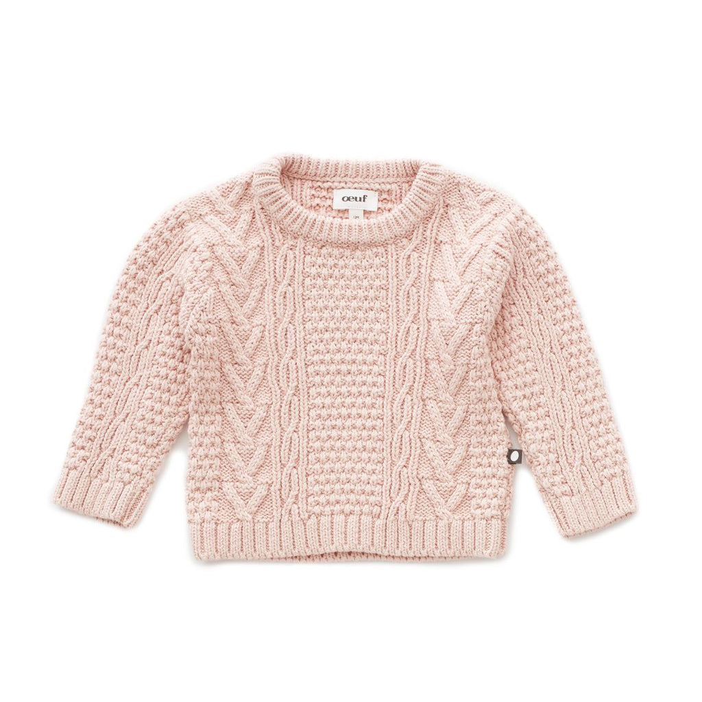 Pull fille tricot torsadé : Amande corail - Oeuf be good (4367548121111)