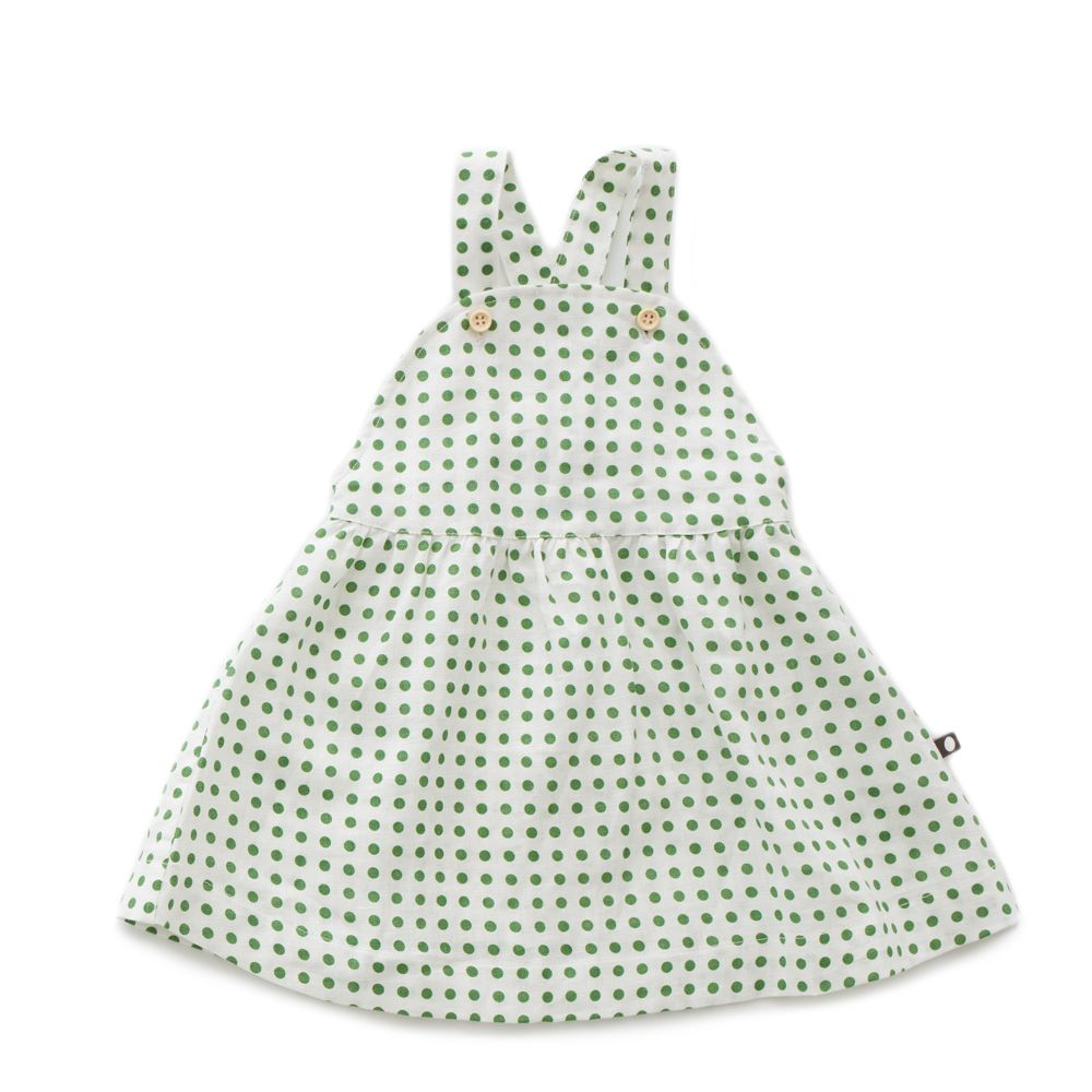 Robe enfant tablier 100% lin : Pois vert - Oeuf be good (4367863578647)