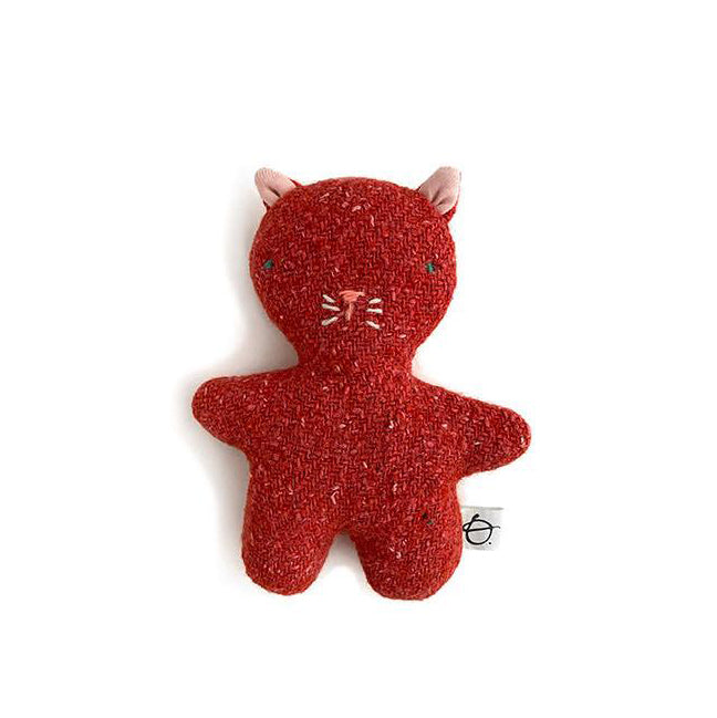 Peluche laine recyclée - Chat rouge