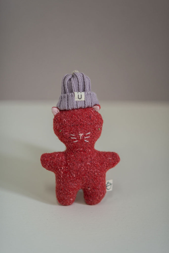 Peluche laine recyclée SORBET - Chat rouge