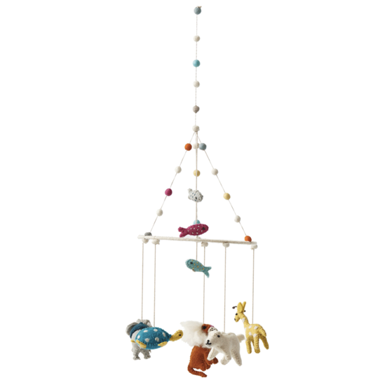 mobile baby crib decoration wool animaux noe arche noah animal