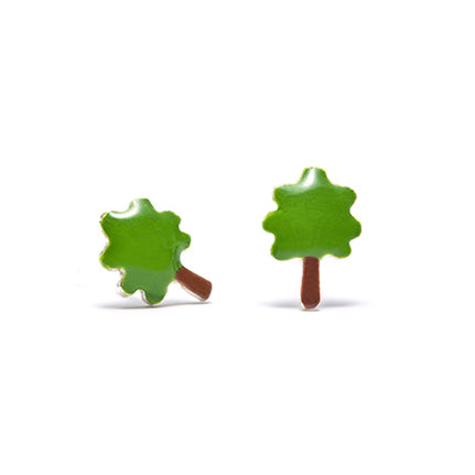 earrings boucle d'oreille vert arbre tree