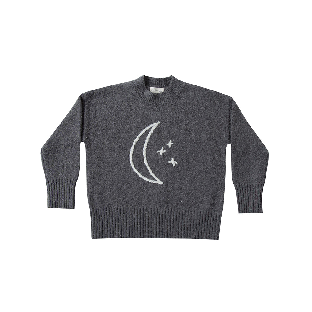 Rylee&Cru_chandail_gris_mode-enfant_kids_baby_bébé_coton chenille_cotton_knit_cool_lune_cassidy sweater_moon