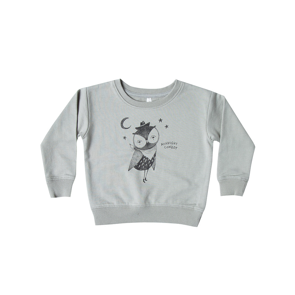 Rylee and Cru_chandail_hibou_vert_cool_fashion_kids_mode_enfant_bébé_baby_jogging_coton_organic_organique_sweatshirt_midnight cowboy