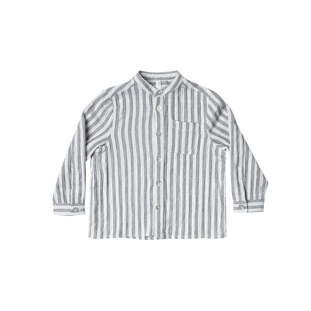 Rylee and Cru_chemise_boy_garcon_kids_enfant_baby_bébé_stripes_lignes_coton_col mao_fashion_mode_mock neck tshirt_stripe_front