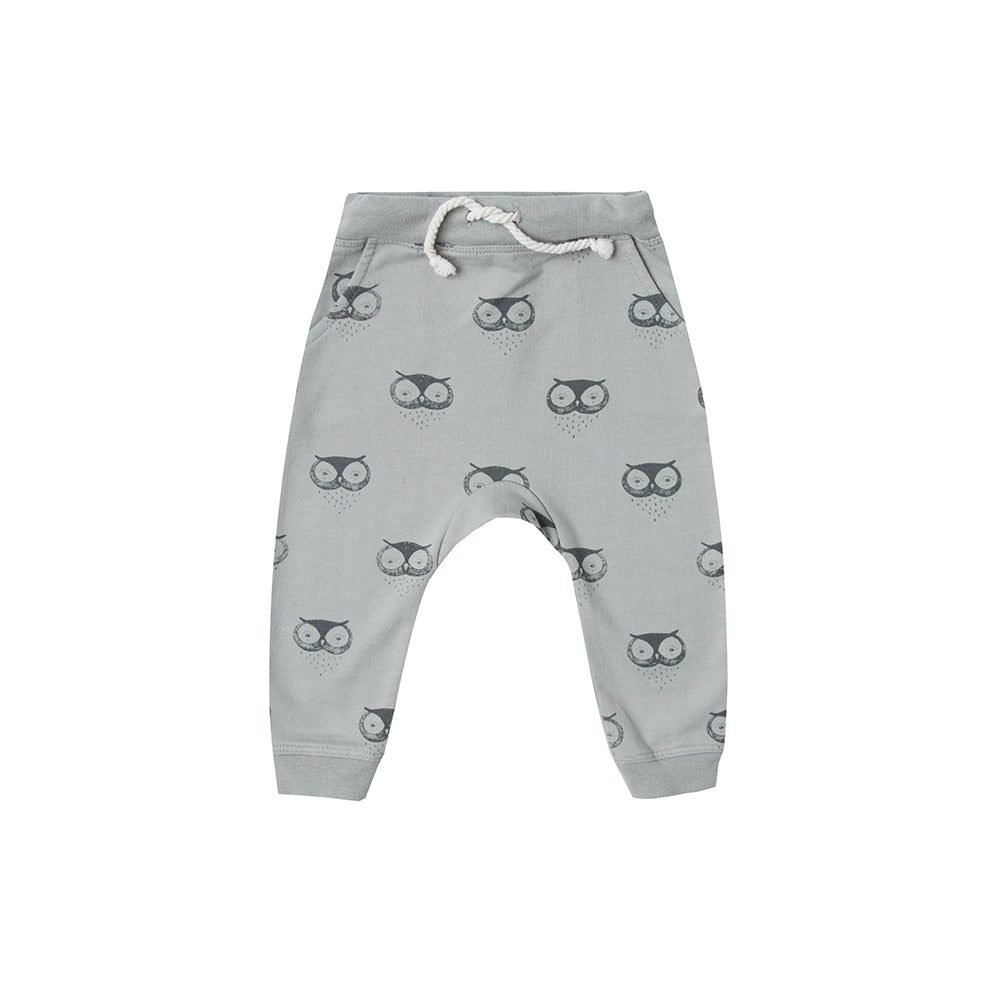 Rylee and Cru_pants_pantalon_jogging_hibou_vert_mint_cool_imprimé_print_fashion_mode_kids_enfant_bébé_baby_sweatpant_owl