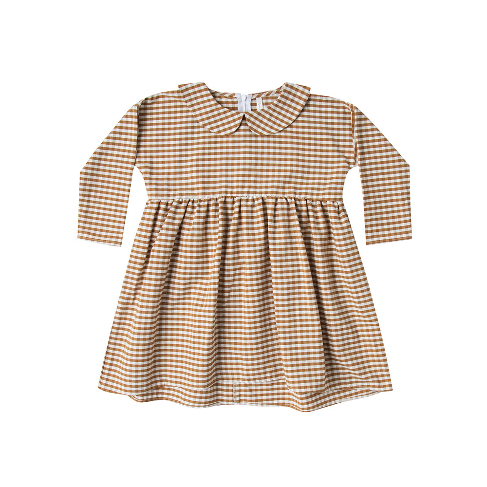Rylee and Cru_robe_carreaux_jaune_gold_or_yellow_creme_cream_coton_organique_fille_girl_fashion_mode_kids collared dress_gingham