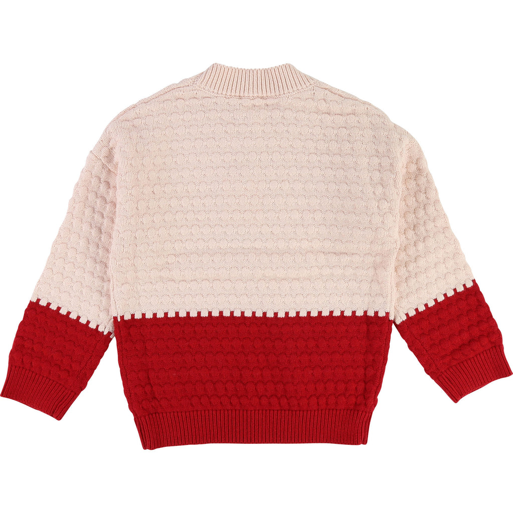 pull sweater chandail embosse red rouge rose pink fashion tendance girl