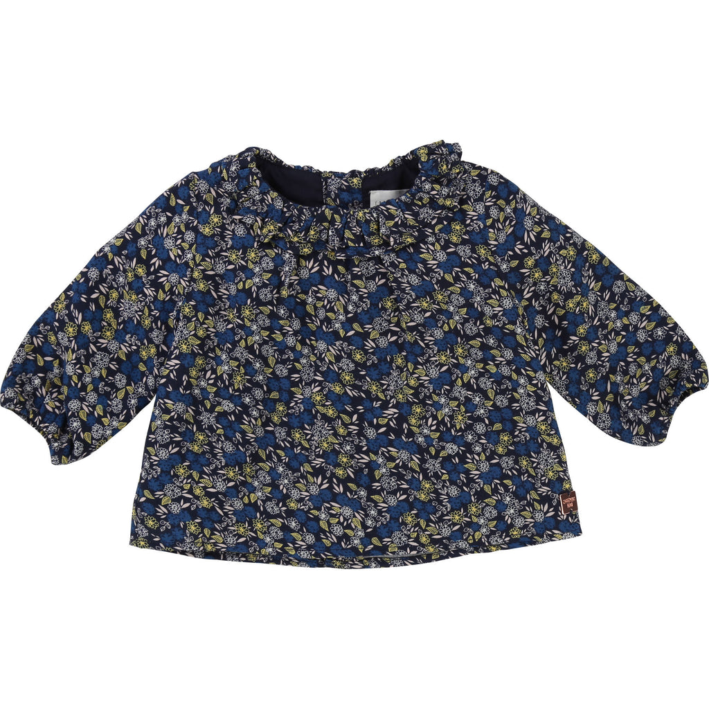 blouse fleuri flower marine navy cute kids girl clown fashion