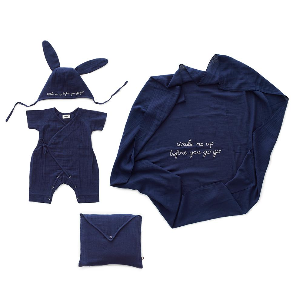 baby gift kit muslim cotton organic cotton baby set oeuf be good mousseline navy blue newborn (573493084183)