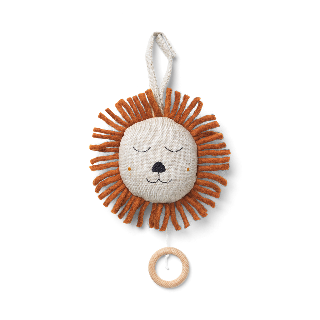 Peluche musicale - Lion lin naturel
