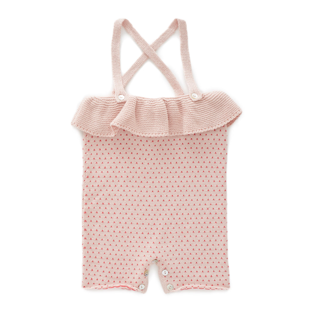 jumper pima cotton knit tricot pêche volant rose pois Oeuf be good mode baby kids fashion