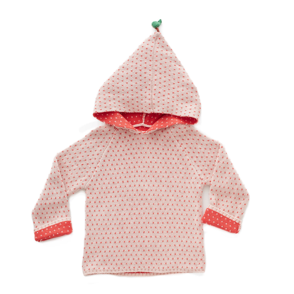 oeuf-ss18-hoodie-peach-chandail pêche picots polka dots rose points capuchon pima cotton organique fashion mode