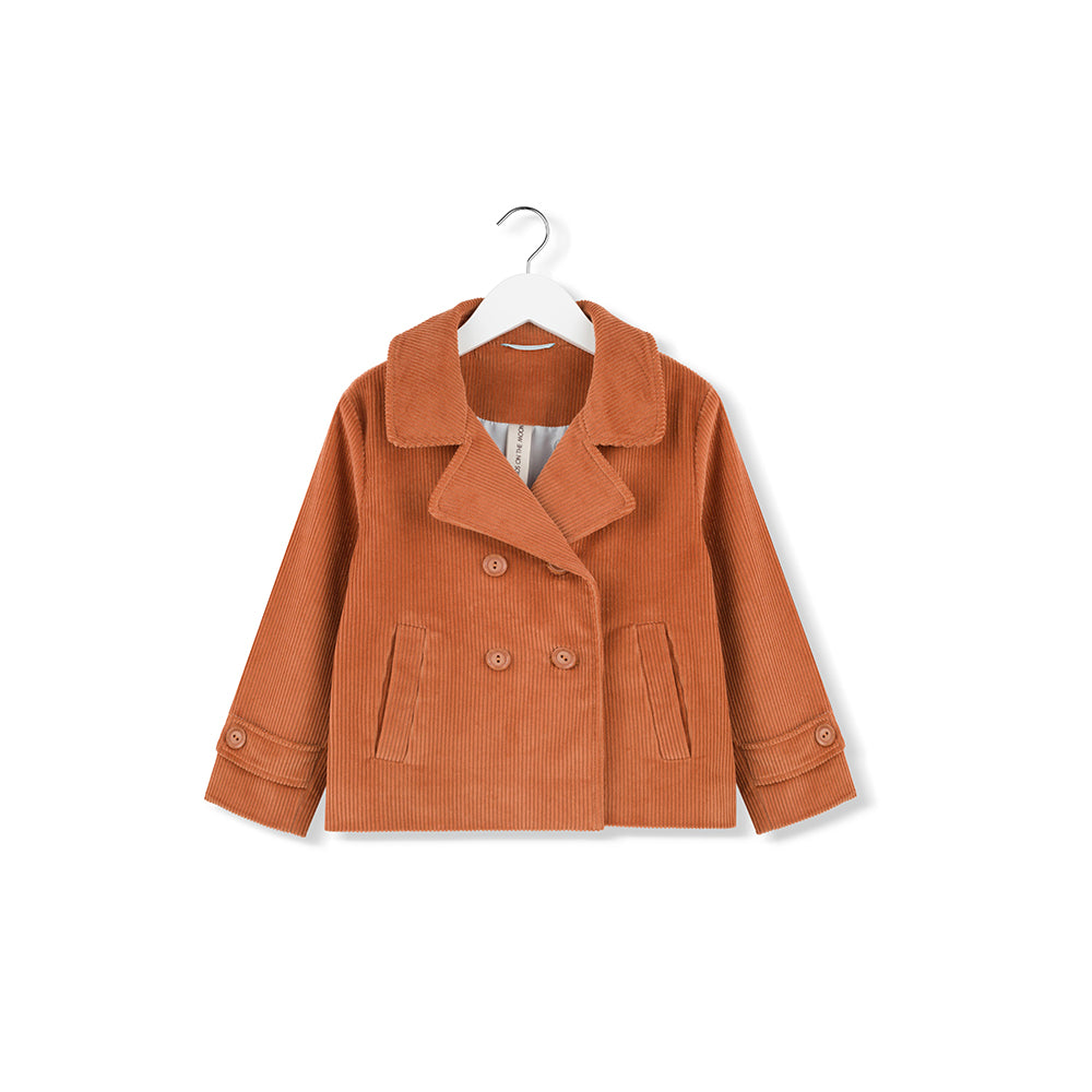 kidsonthemoon_AW19_winter_hiver_fashion_kids_enfant_mode_quebec_lesptitsmosus_corduroy_jacket_manteau_double_breast_orange_