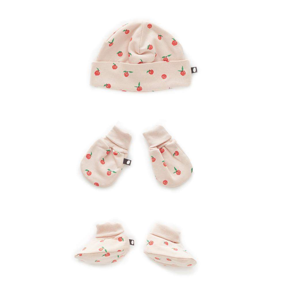 oeuf-ss18-accessories-peachprint ensemble cadeau gift set newborn nouveau-né pima coton organique pêche baby fashion