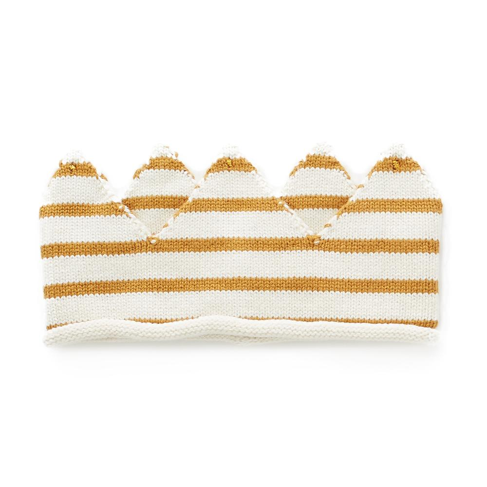 oeuf-ss18-crown-ochre-white-stripes chapeau couronne ligné jaune Oeuf stipes yellow pima cotton kint tricot