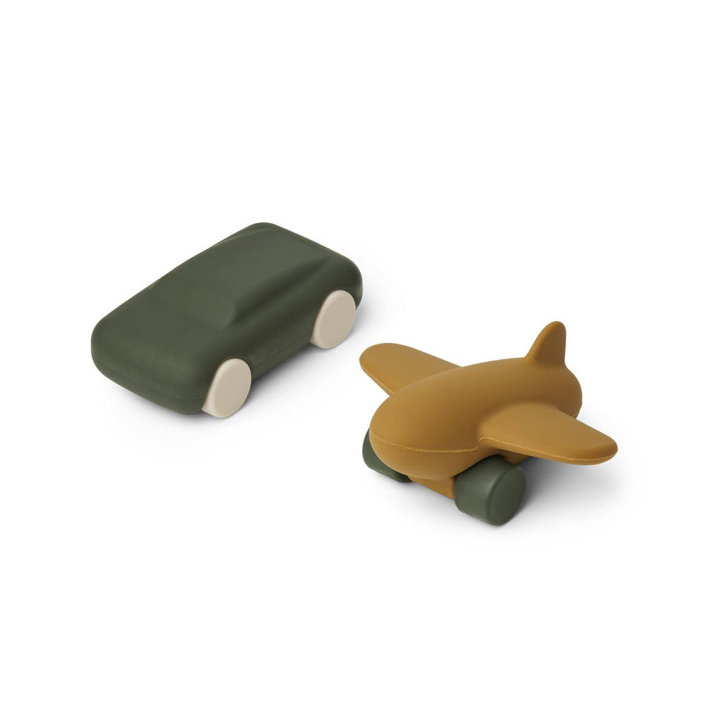 Jouets silicone avion + auto - Hunter green/olive green
