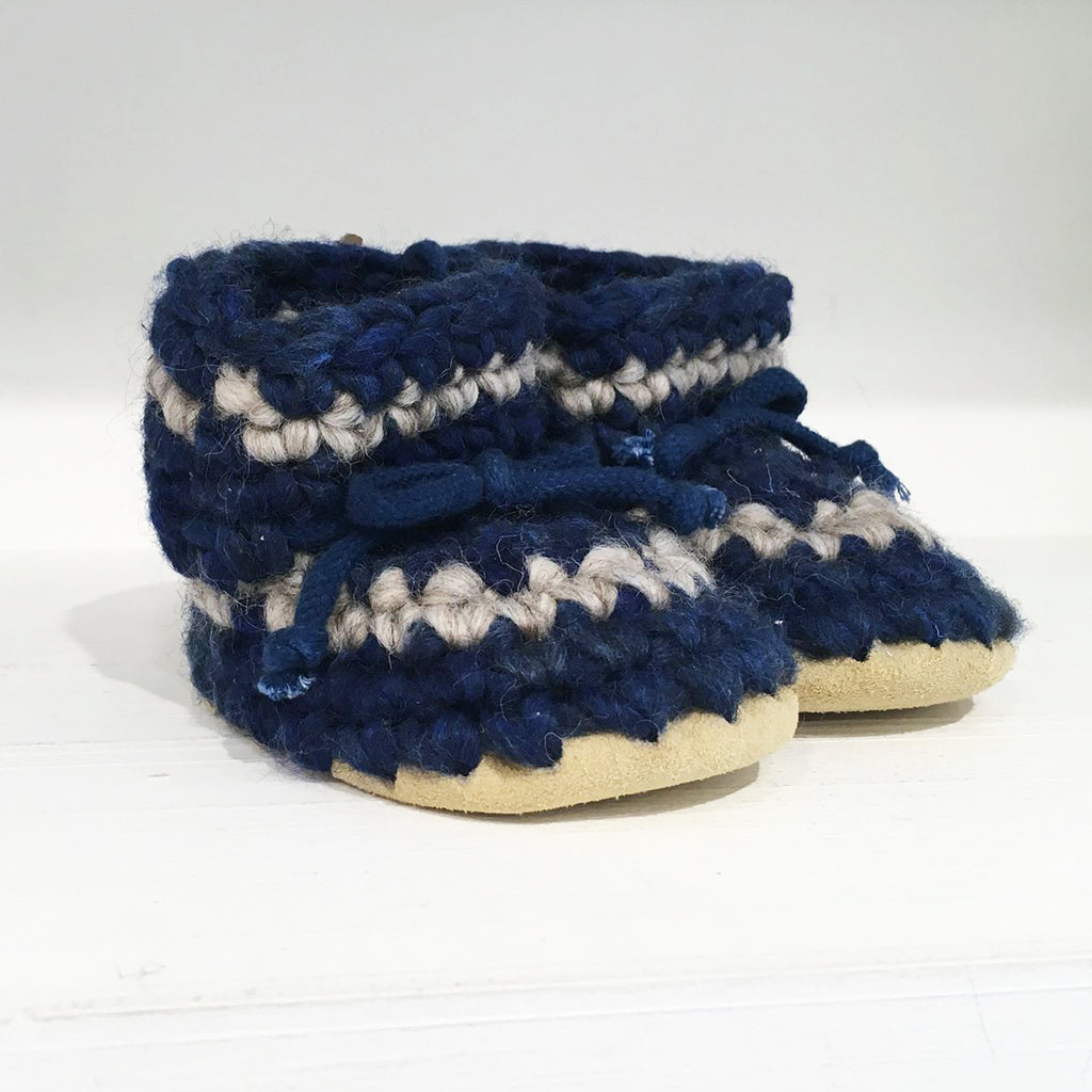 Baby Slipper Padraig Cottage - Color Striped Denim - 100% wool. (9657021904)