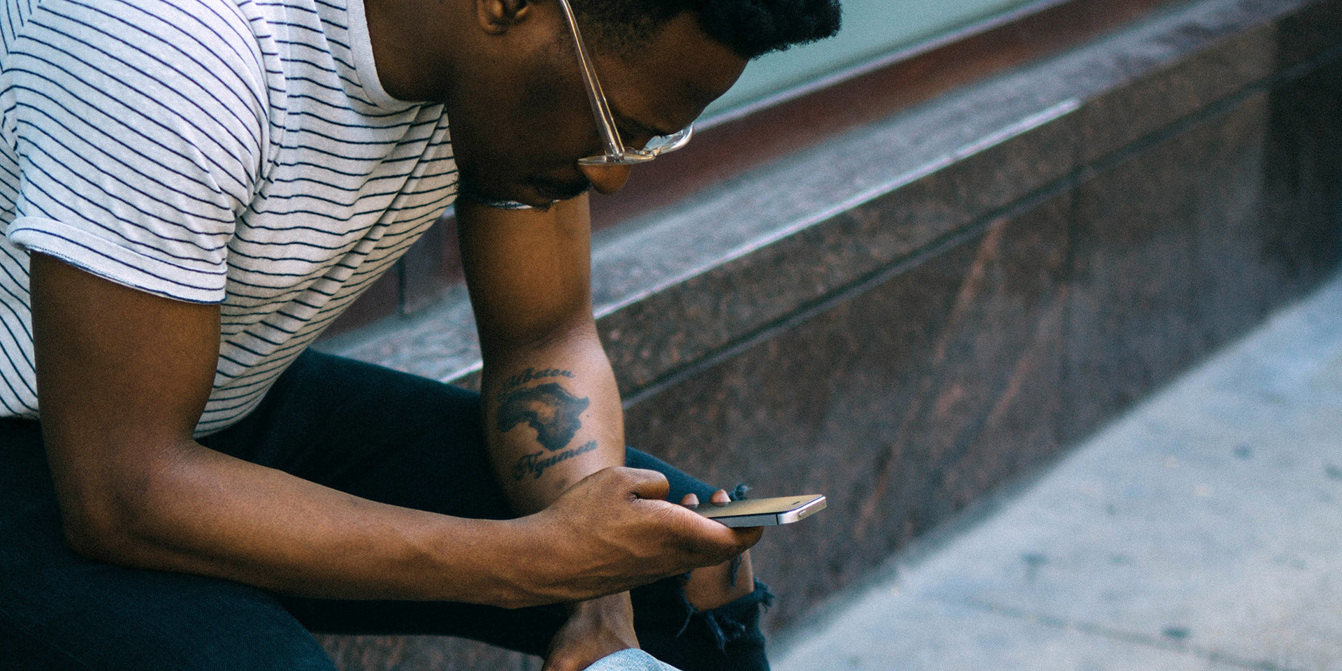 Young man on smartphone