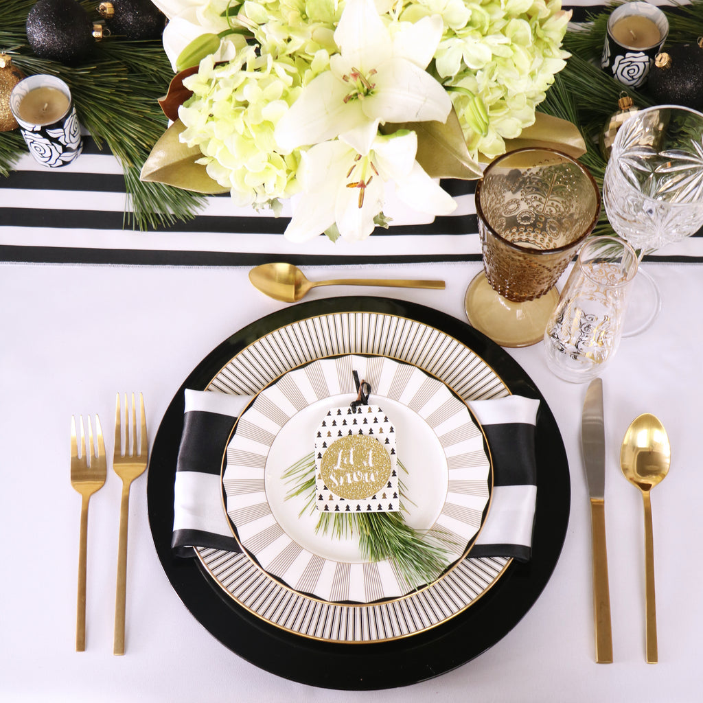 Black Gold White Lenox Table Setting Christmas
