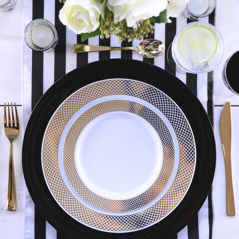table top decor black and white place setting