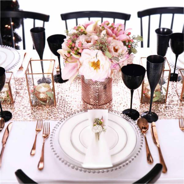 Christmas Table Decorations Set In Pink And Silver Table Setting