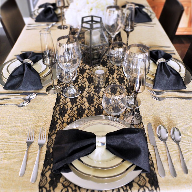 black lace burlap tablescape table setting ... & Burlap with lace table runner - unique tablescapes - Styled Settings