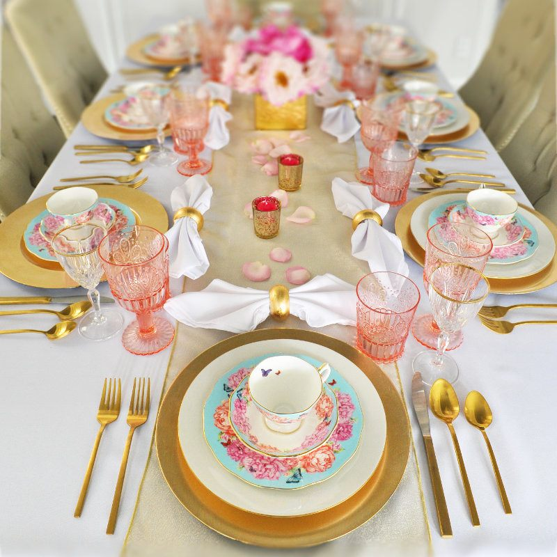 gold and white tablescape table setting & Gold Table Settings Pre-Styled For You - Styled Settings