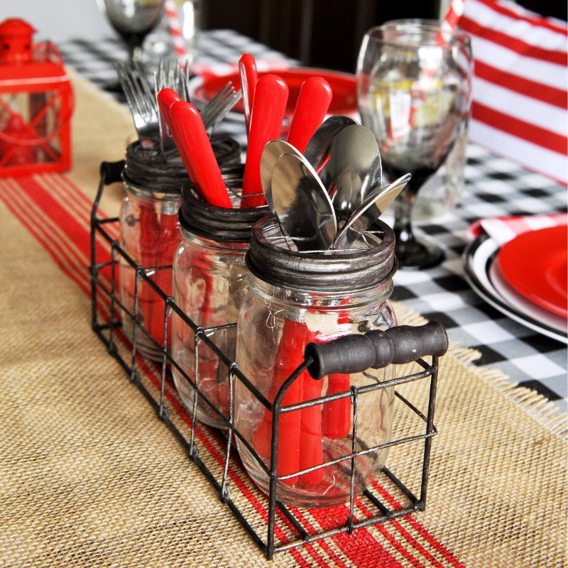 ... picnic tablescape mason jar frog lid 3 wire basket vase table setting-2 ... & BBQ Tablescape - table top decor pieces - Styled Settings