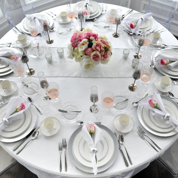 silver and white tablescape table setting & Romantic Table Settings for a Posh Party - Styled Settings