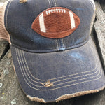Game Day Vintage Distressed Trucker Cap with Football Patch.   12 Color Choices,Cap - Dirt Road Divas Boutique