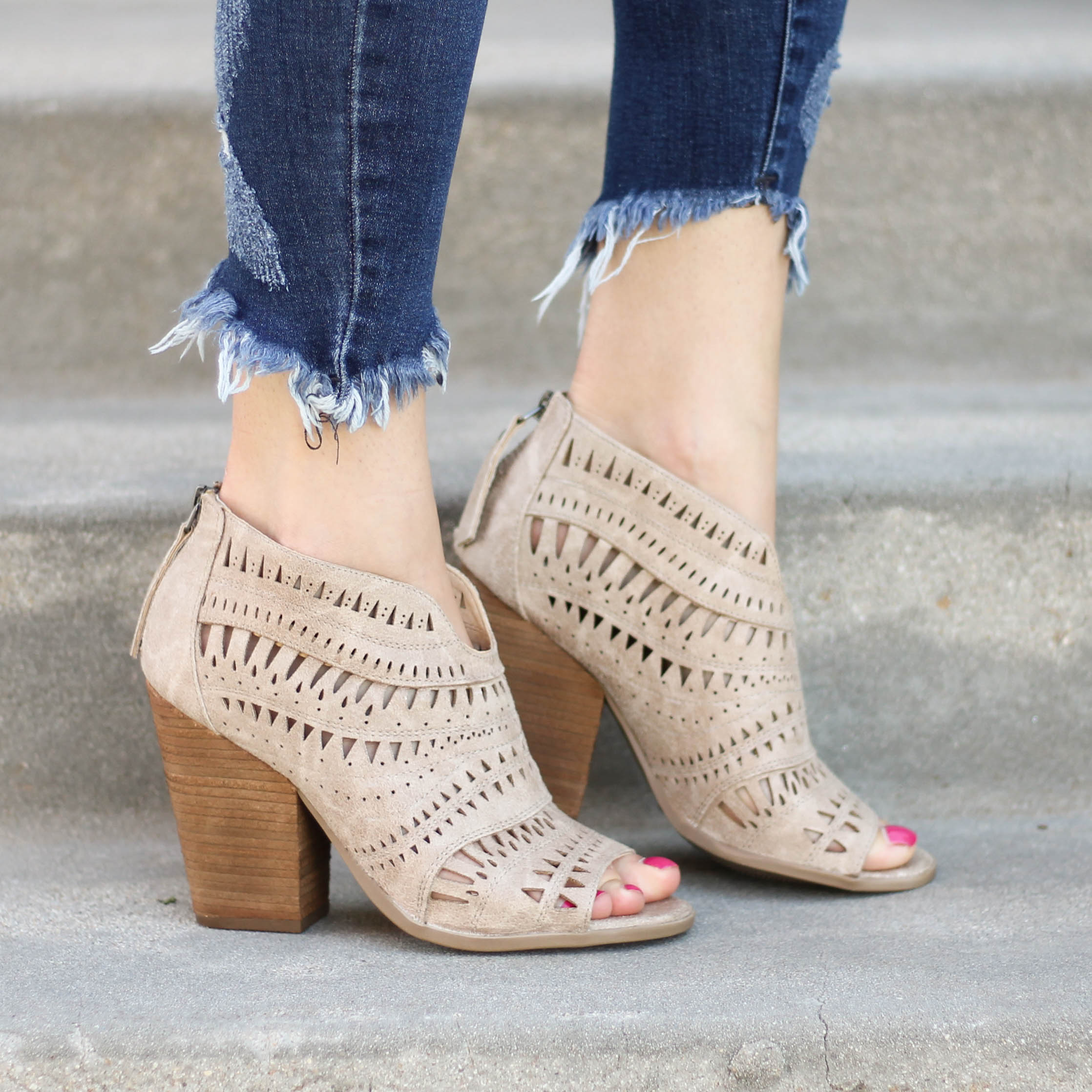 Not Rated Groove Thang Peep Toe Booties in Cream