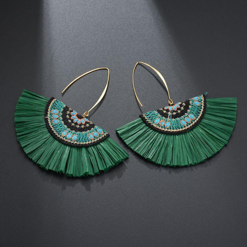 Green Raffia Fan Earrings