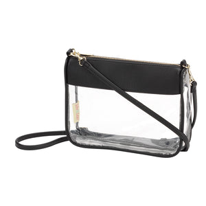 Stadium Approved Clear Crossbody Purse in Black with Monogram,Purses - Dirt Road Divas Boutique